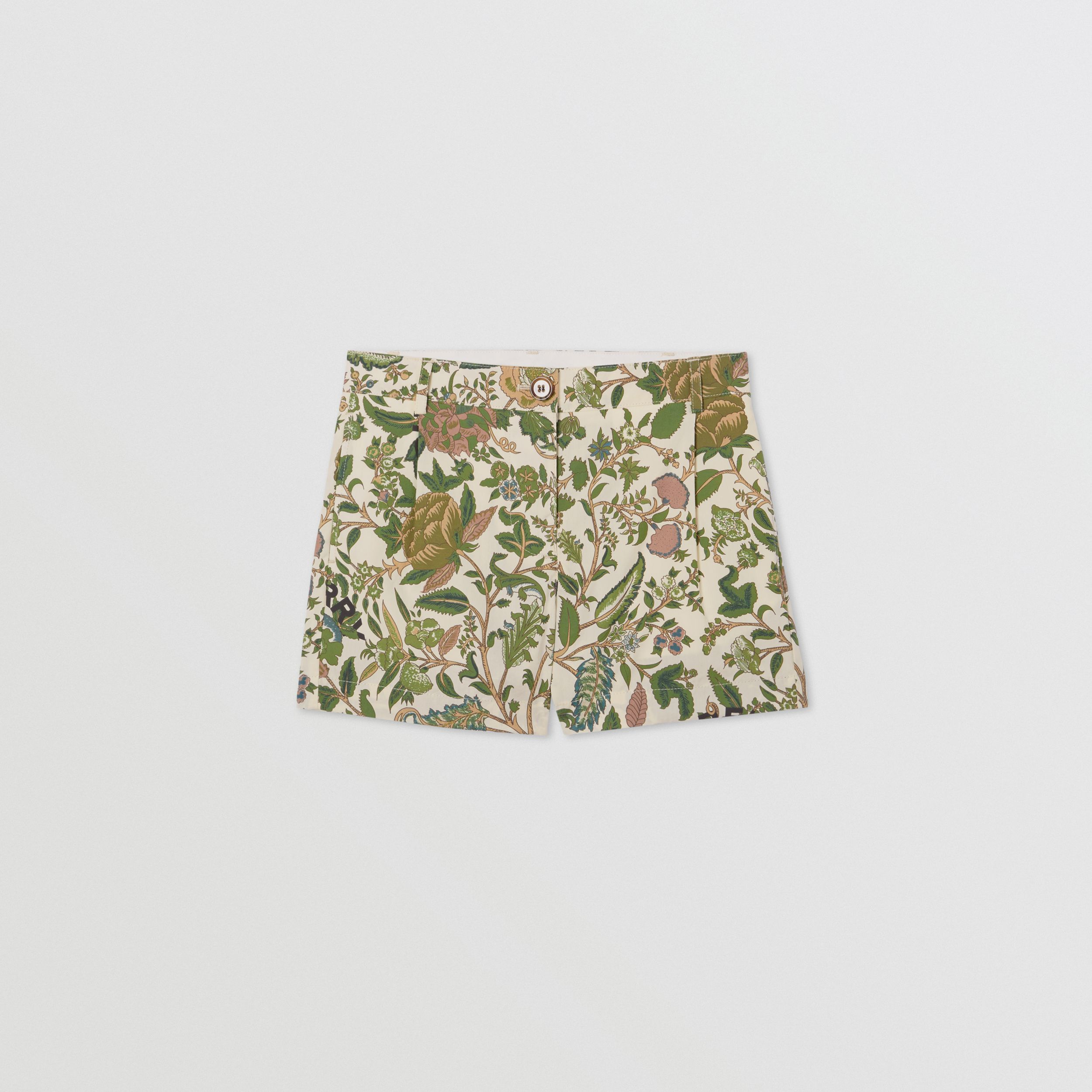Botanical Print Cotton Tailored Shorts in Olive | Burberry Hong Kong S.A.R - 1