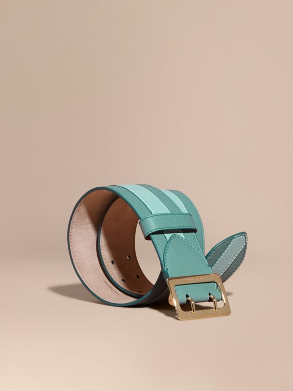 Appliquéd Textured Suede and Leather Belt Celadon Blue