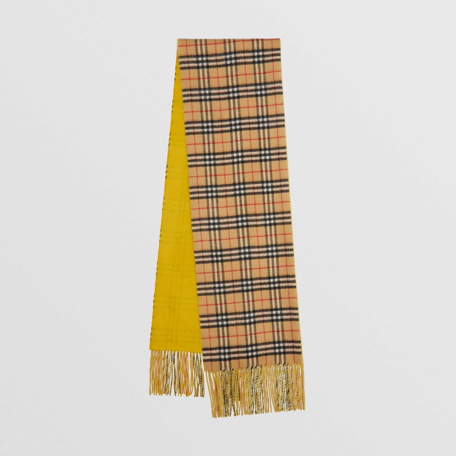 Colour Block Vintage Check Cashmere Scarf in Gorse Yellow | Burberry United Kingdom - gallery image 0