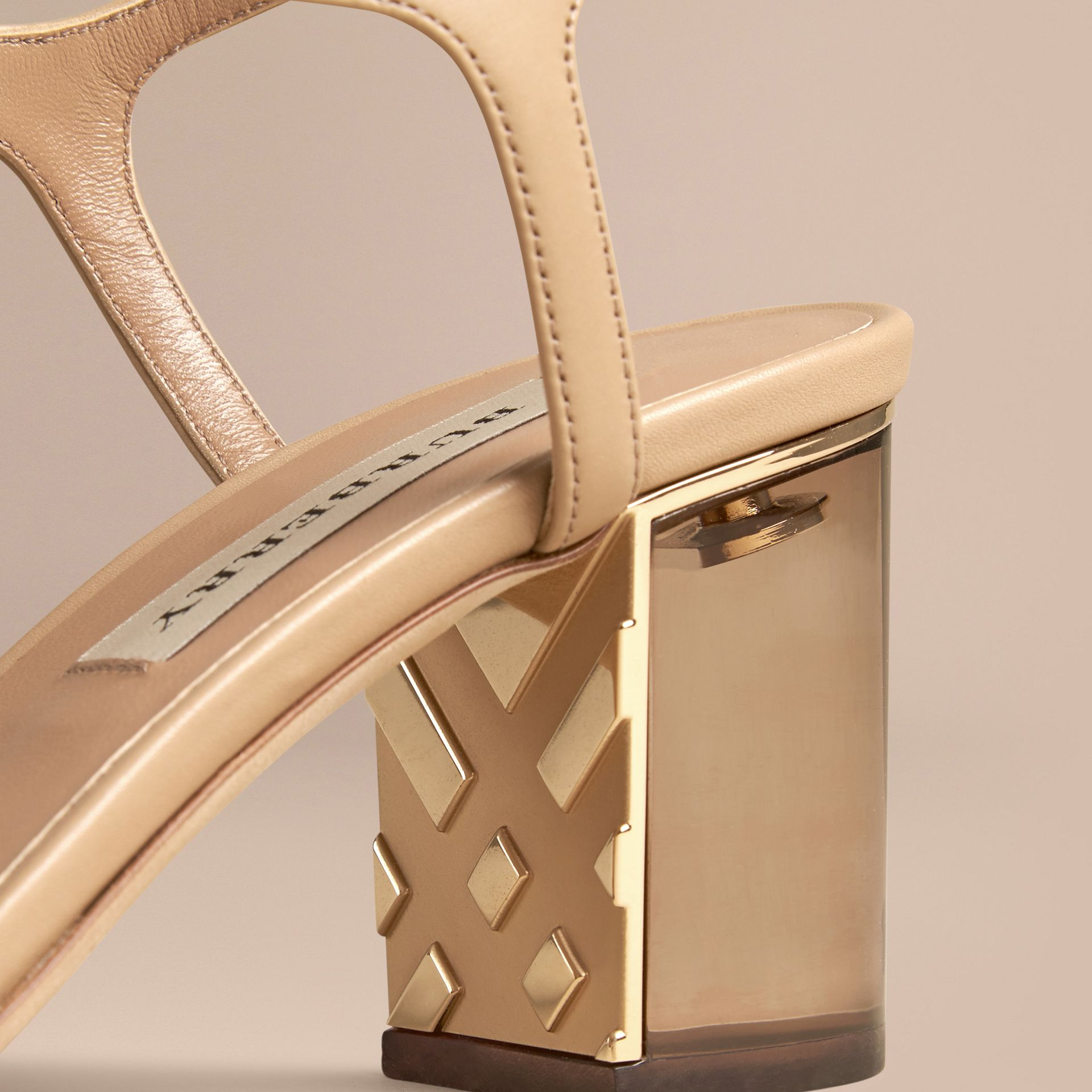 Light nude Check Detail Leather Sandals - gallery image 5