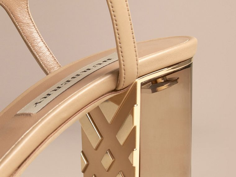 Light nude Check Detail Leather Sandals - cell image 4
