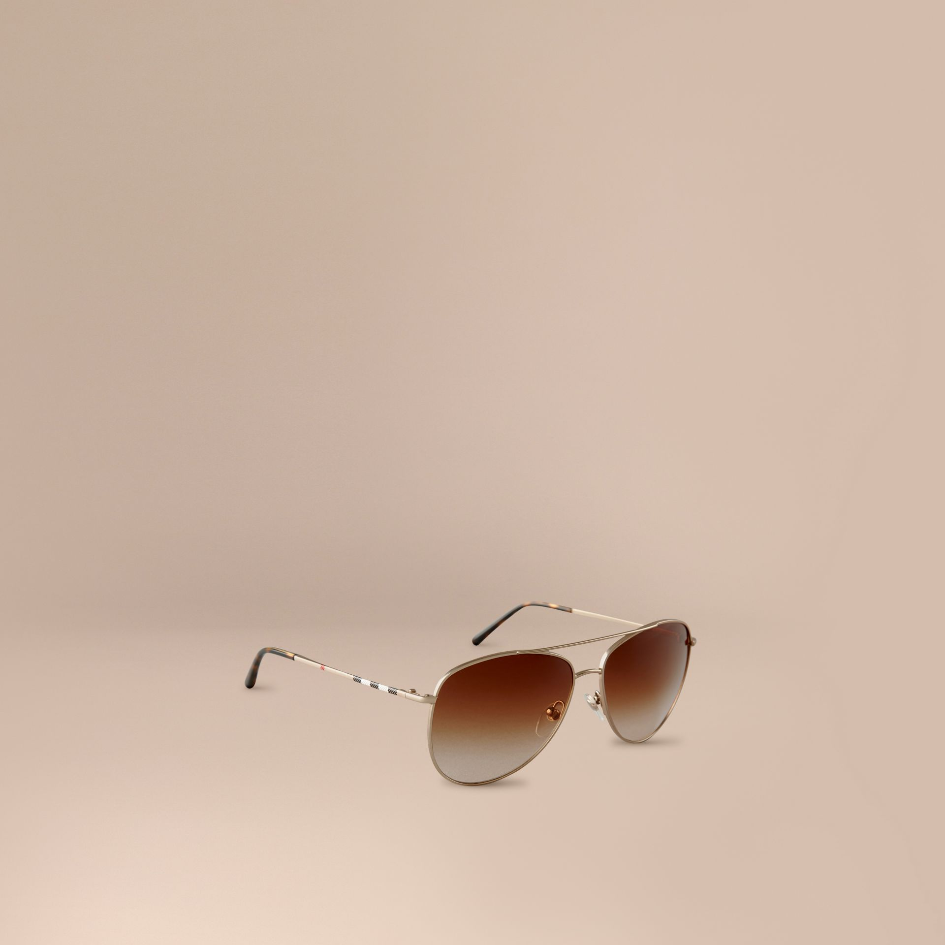 Pale gold Check Arm Aviator Sunglasses - gallery image 1