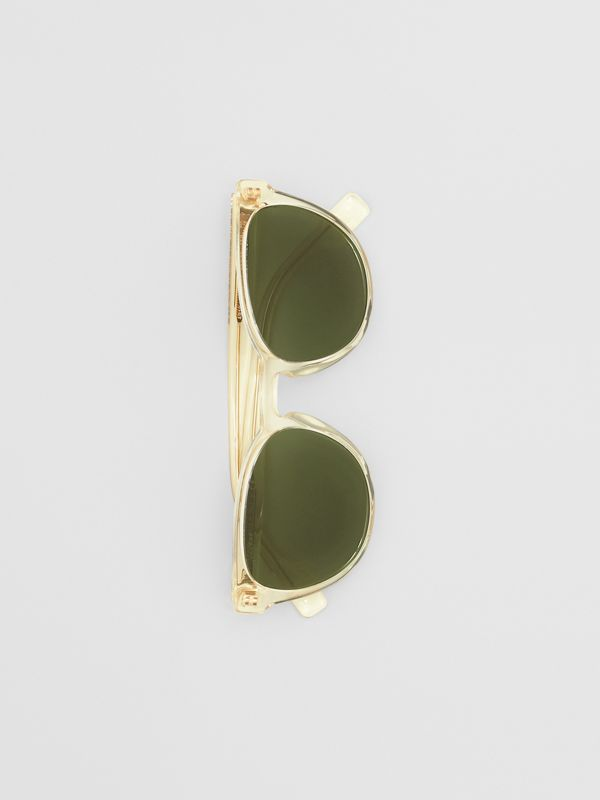 Round Frame Sunglasses in Pale Yellow - Men | Burberry Australia - cell image 2