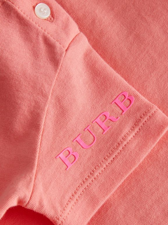Logo Print Cotton T-shirt in Bright Pink - Children | Burberry - cell image 1