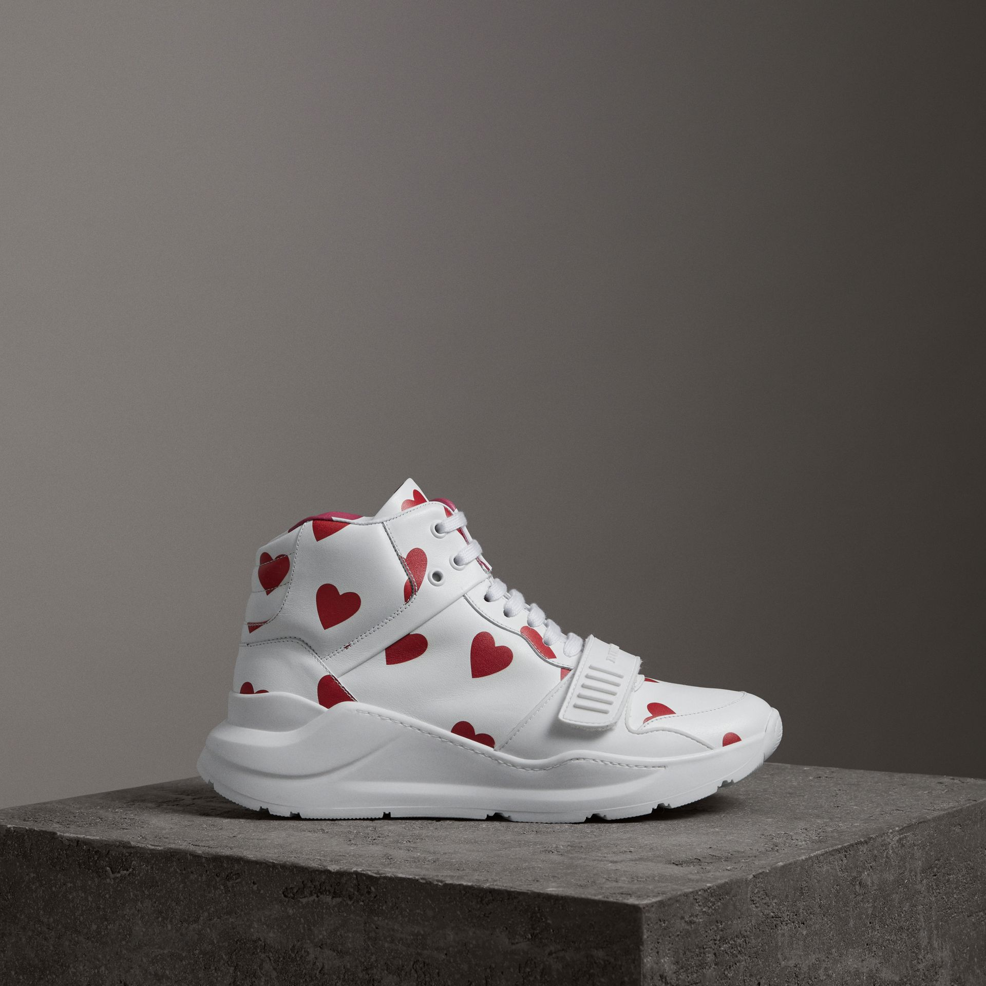 Heart Print Leather High-top Sneakers in Windsor Red/optic White - Women | Burberry - gallery image 0