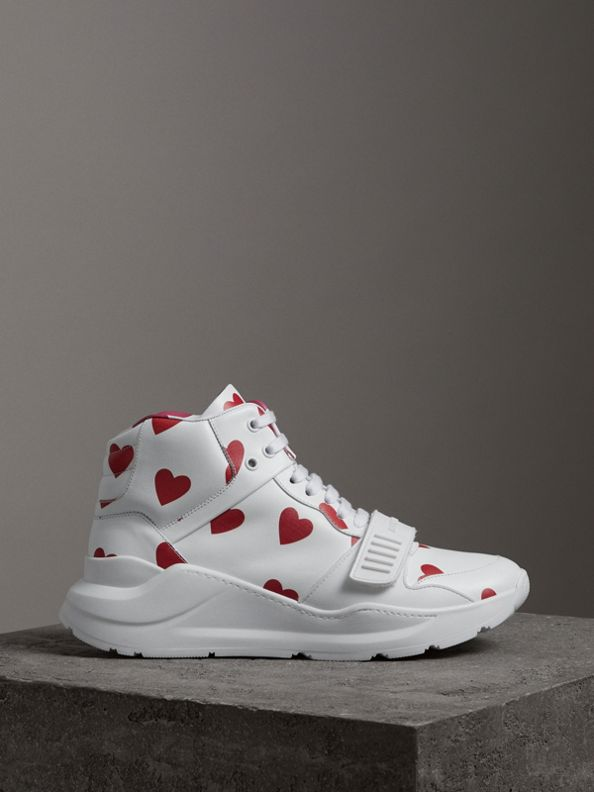 Heart Print Leather High-top Sneakers in Windsor Red/optic White