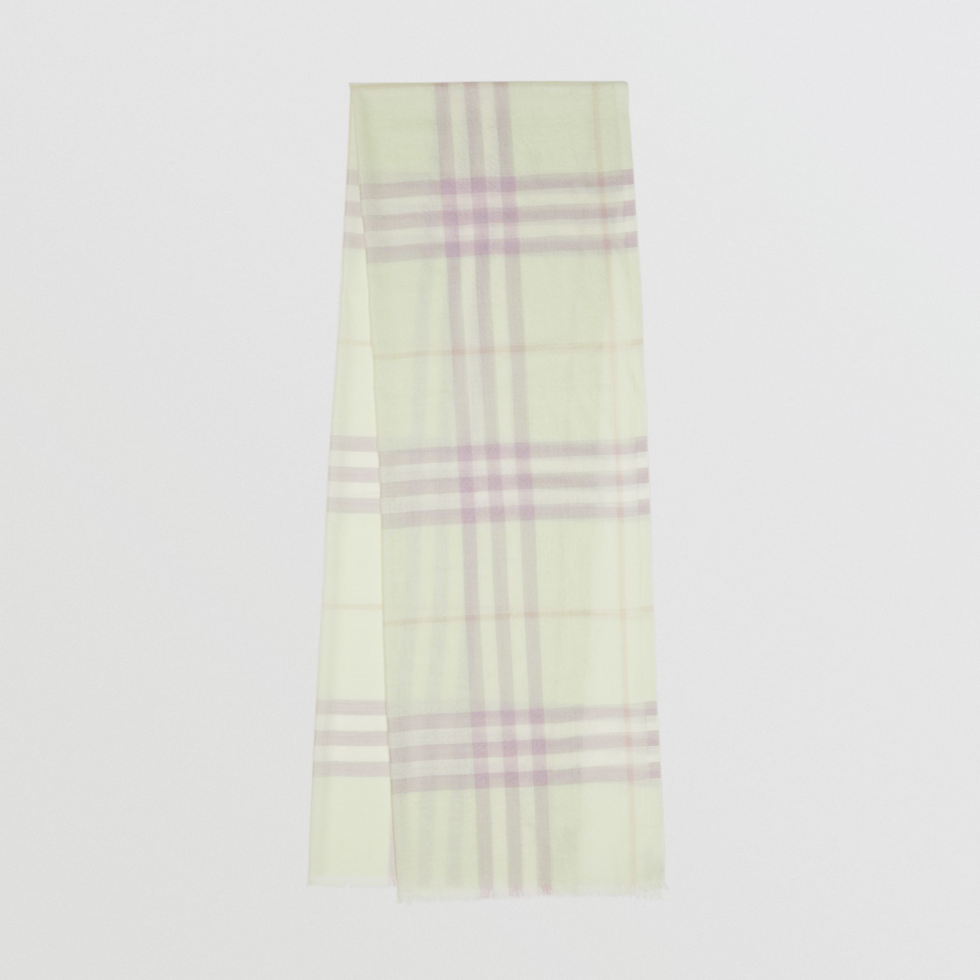 Lightweight Check Wool and Silk Scarf in Limestone - Men | Burberry - gallery image 0
