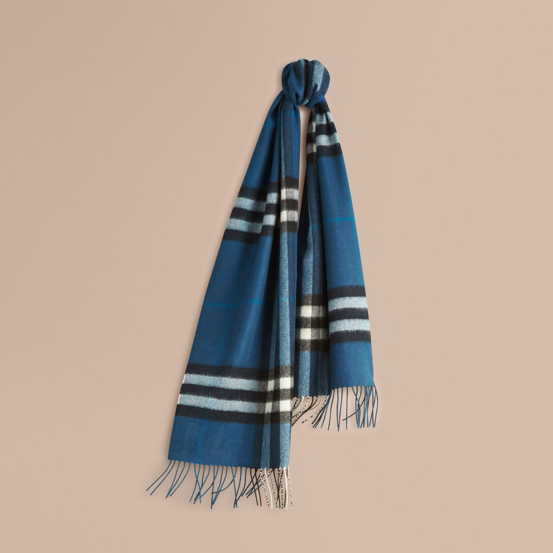 The Classic Cashmere Scarf in Check Marine Blue - gallery image 6
