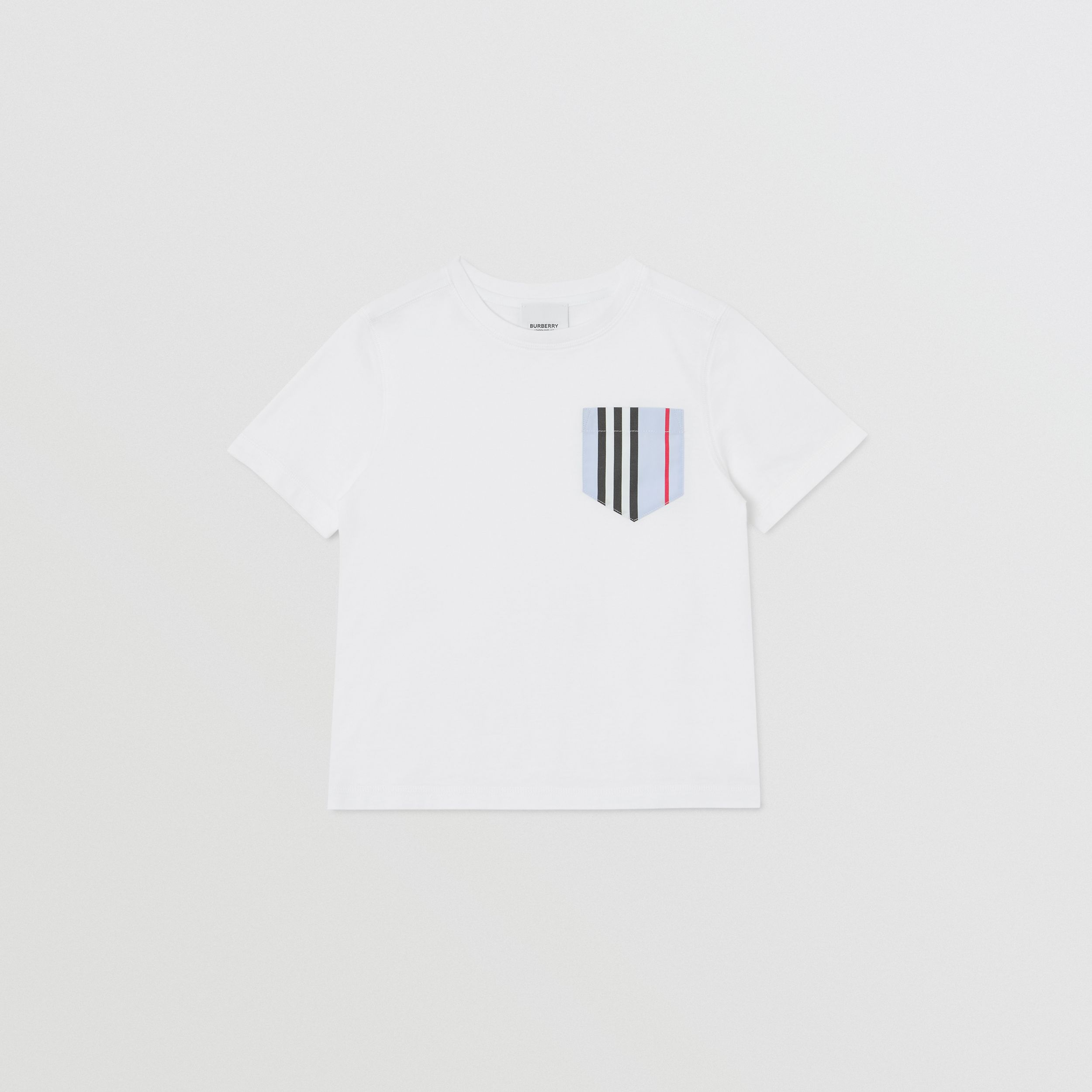 Icon Stripe Pocket Cotton T-shirt in White/pale Blue | Burberry - 1