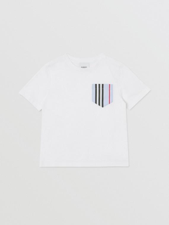 Camiseta de algodão com bolso com listras icônicas (Branco/azul Claro)