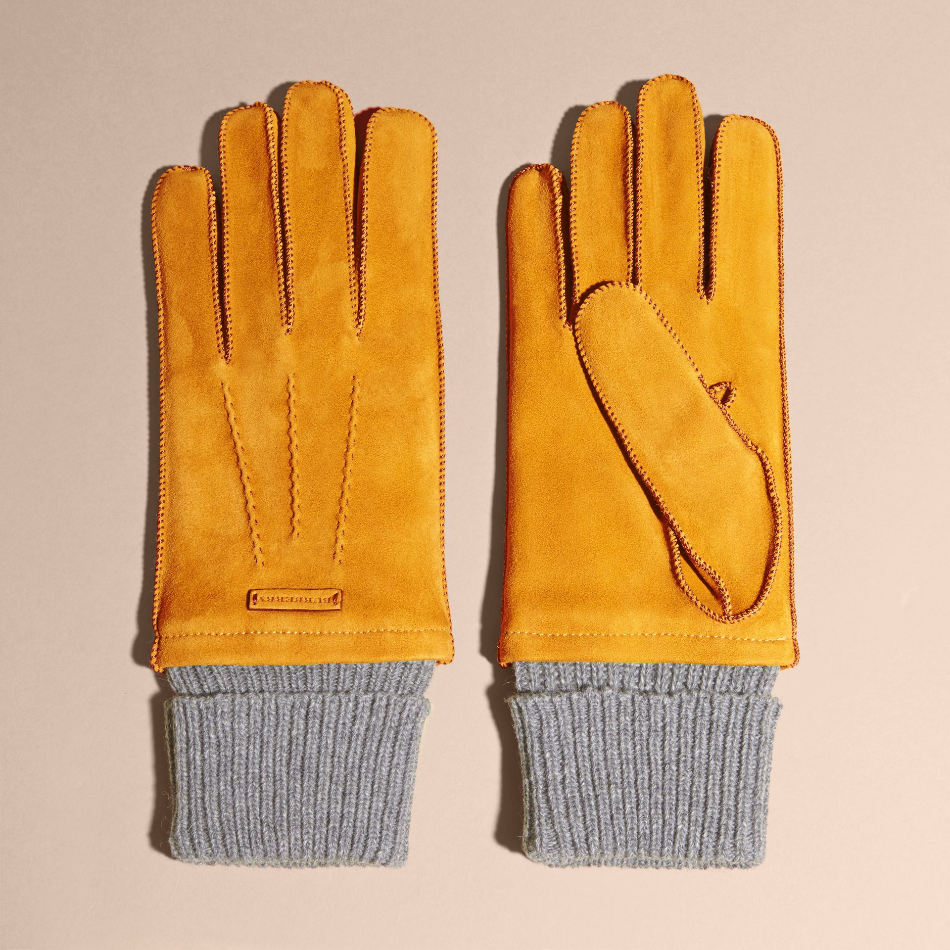 Saffron yellow Wool Cashmere Ribbed Trim Suede Gloves Saffron Yellow - gallery image 3