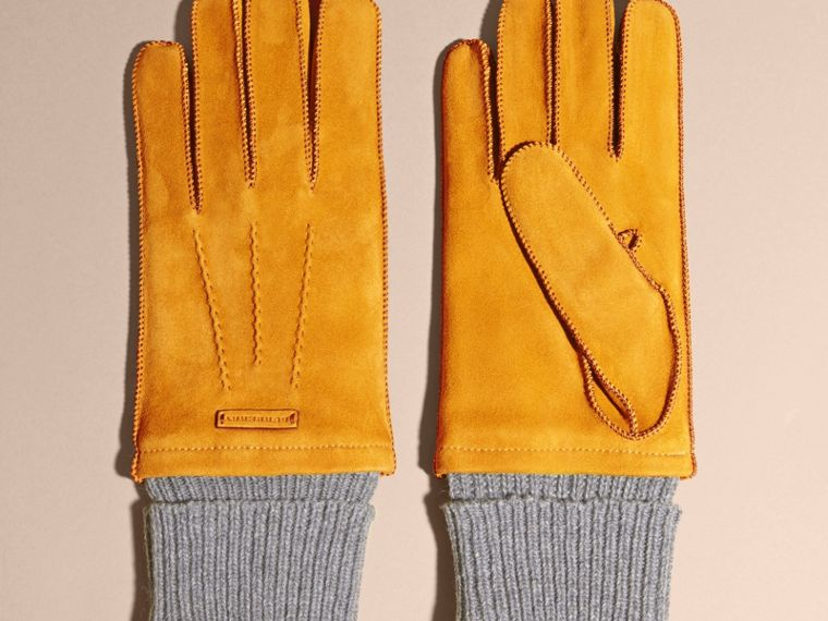 Saffron yellow Wool Cashmere Ribbed Trim Suede Gloves Saffron Yellow - cell image 2