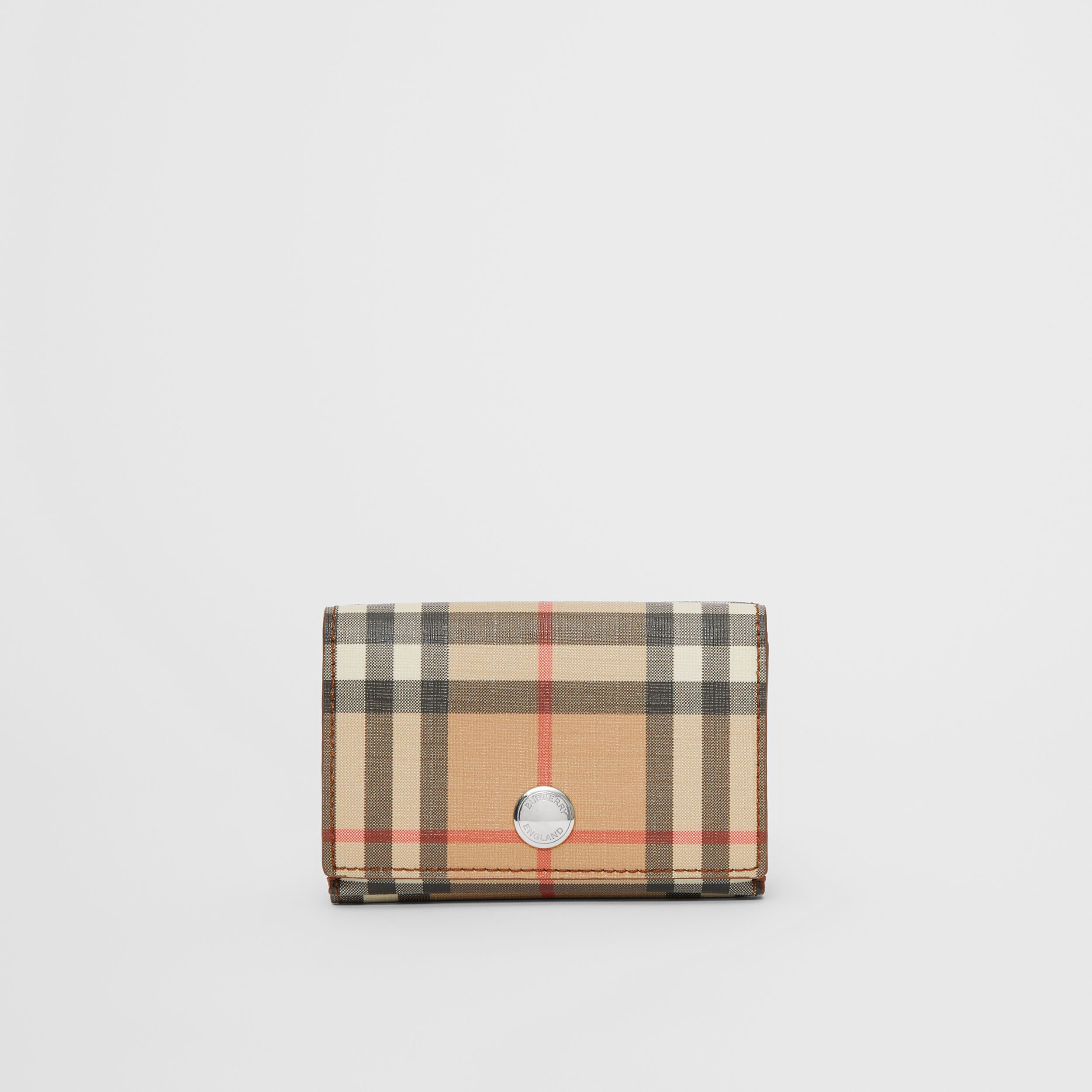 Small Vintage Check E-canvas Folding Wallet in Malt Brown - Women | Burberry Australia - 1