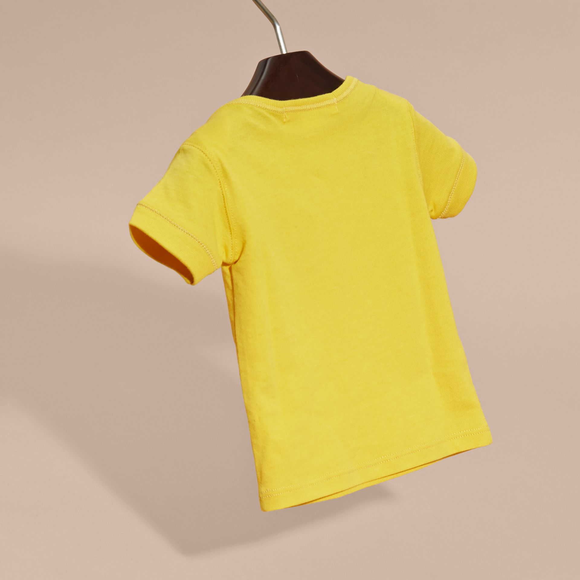 Check Pocket T-Shirt in Bright Yellow - gallery image 4