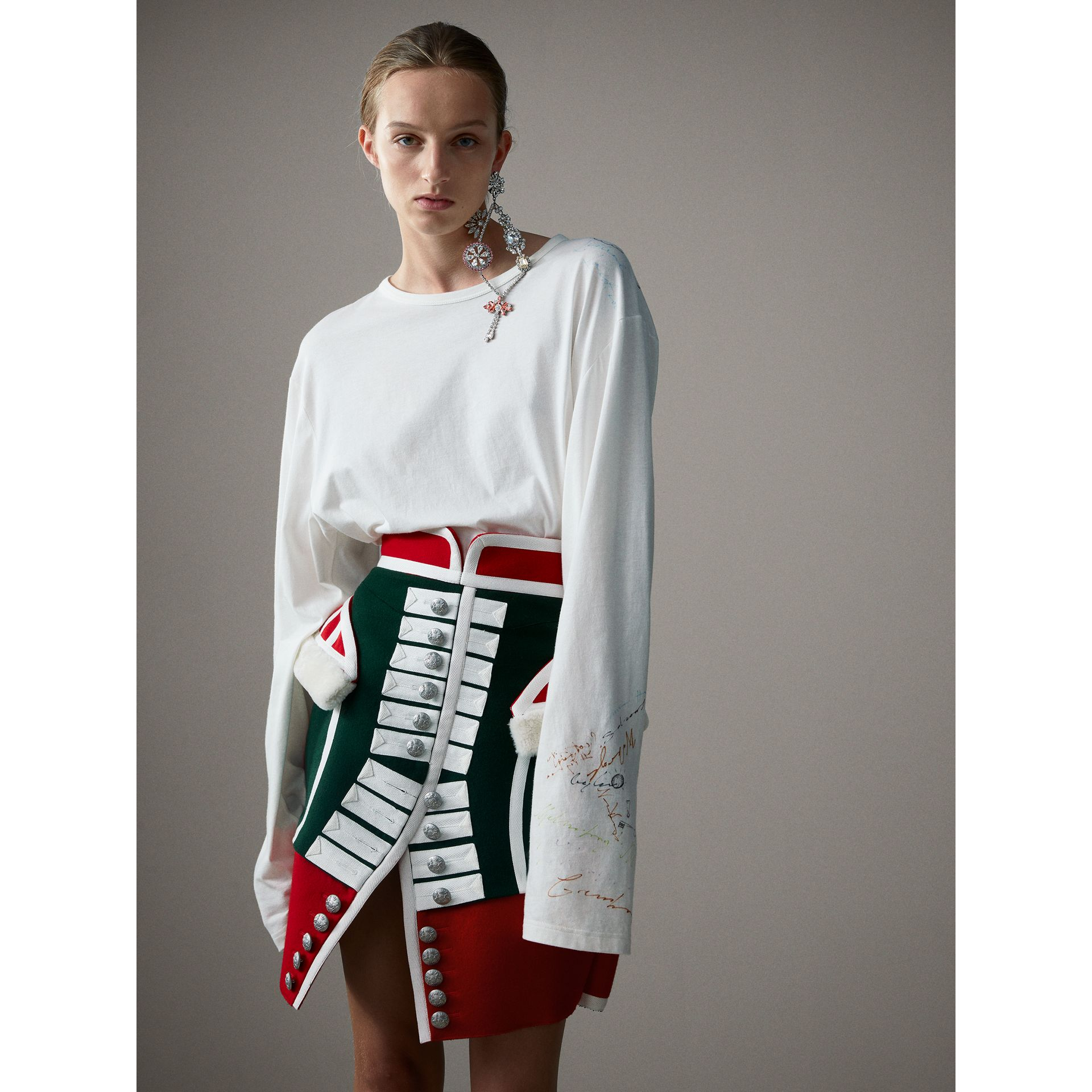 Long-sleeve Sketch Print Cotton Top in White - Women | Burberry - gallery image 0