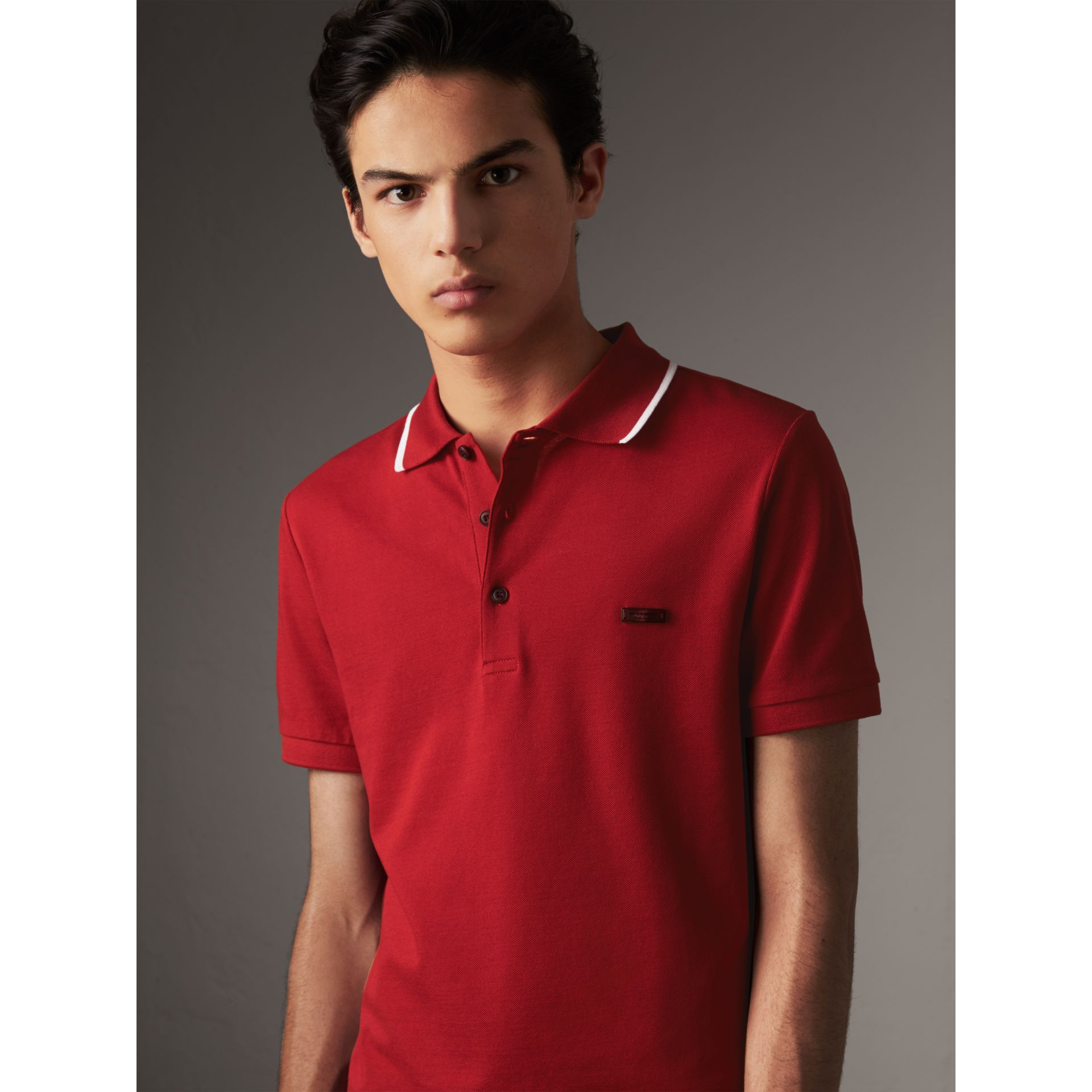 Tipped Collar Cotton Piqué Polo Shirt in Military Red - Men | Burberry - gallery image 1