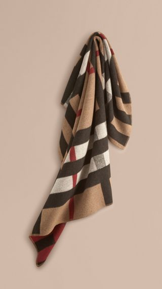 Check Wool Cashmere Blanket