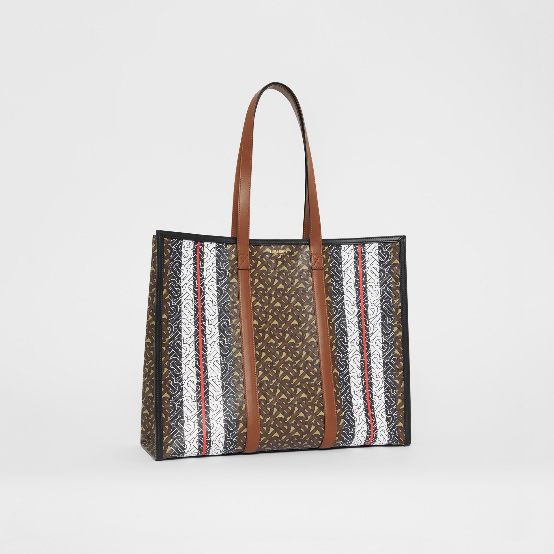 Monogram Stripe E-canvas Tote Bag in Bridle Brown | Burberry - gallery image 8