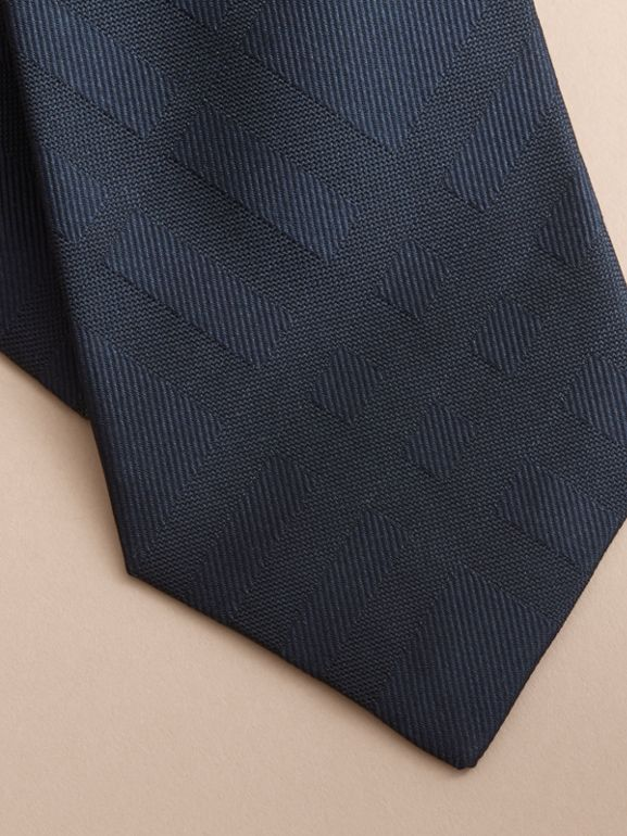 Classic Cut Check Silk Jacquard Tie in Navy - Men | Burberry - cell image 1