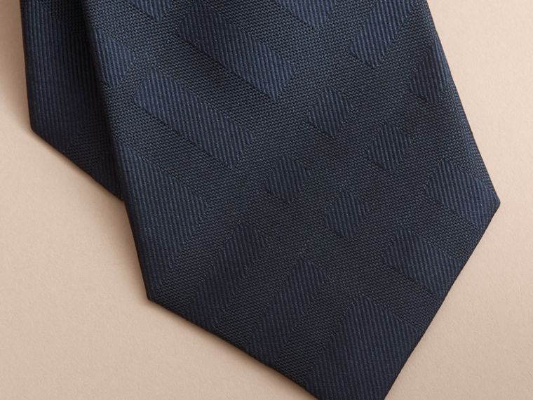 Classic Cut Check Silk Jacquard Tie in Navy - Men | Burberry Hong Kong - cell image 1
