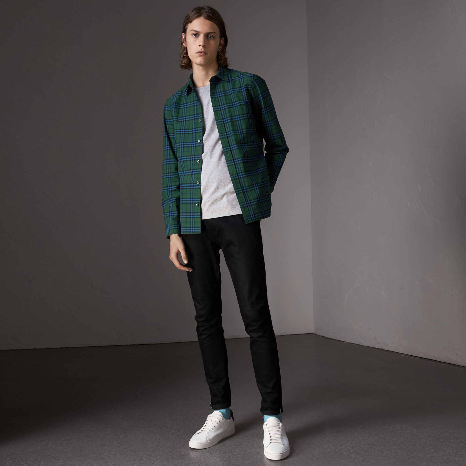 Check Cotton Shirt in Forest Green - Men | Burberry - gallery image 1