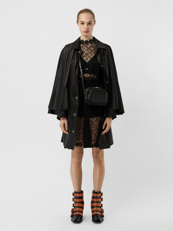 Cape Detail Nylon Twill Belted Coat in Black
