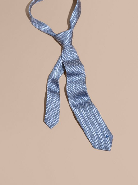 Corbata de pala moderna en jacquard de seda Azul Mineral