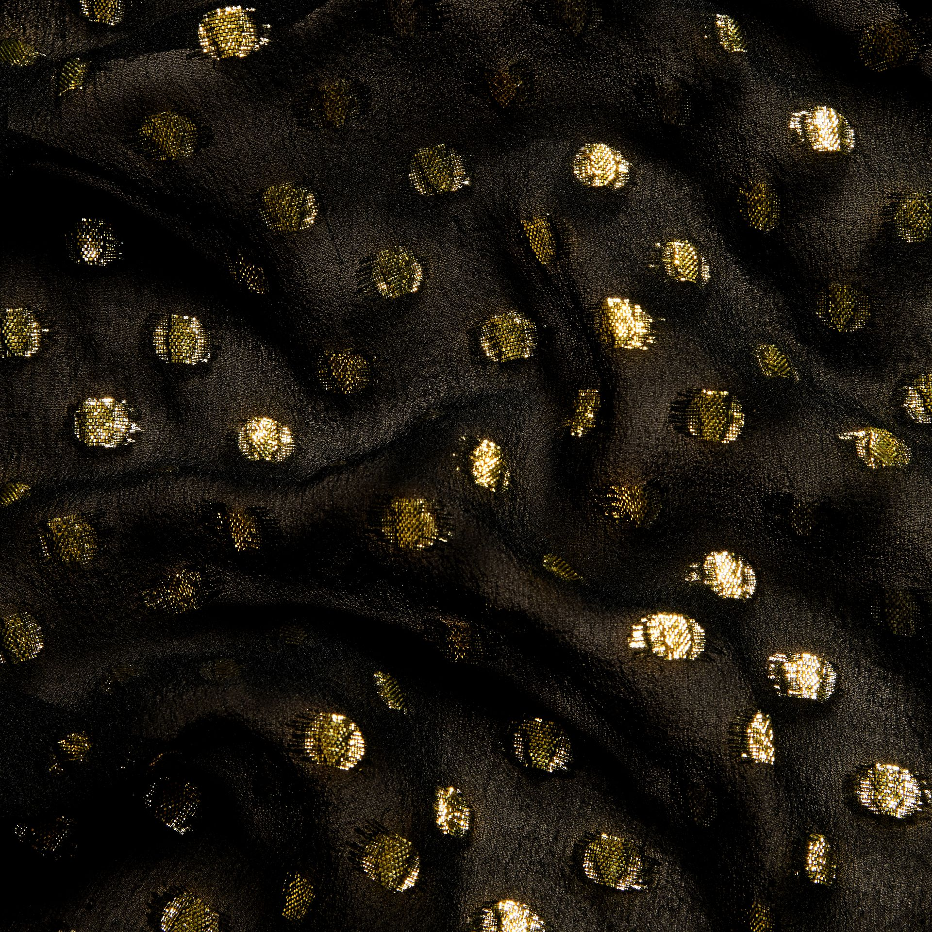 Gold/black Metallic Polka Dot Long-sleeved Silk Dress - gallery image 2