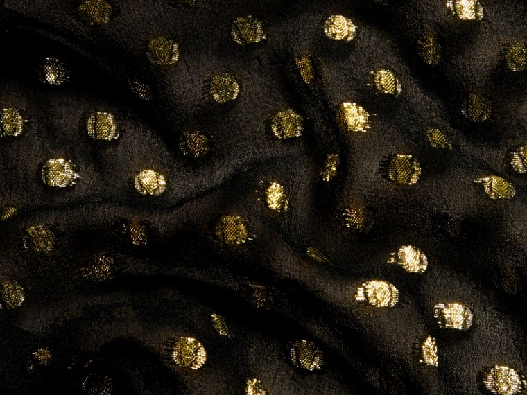 Gold/black Metallic Polka Dot Long-sleeved Silk Dress - cell image 1