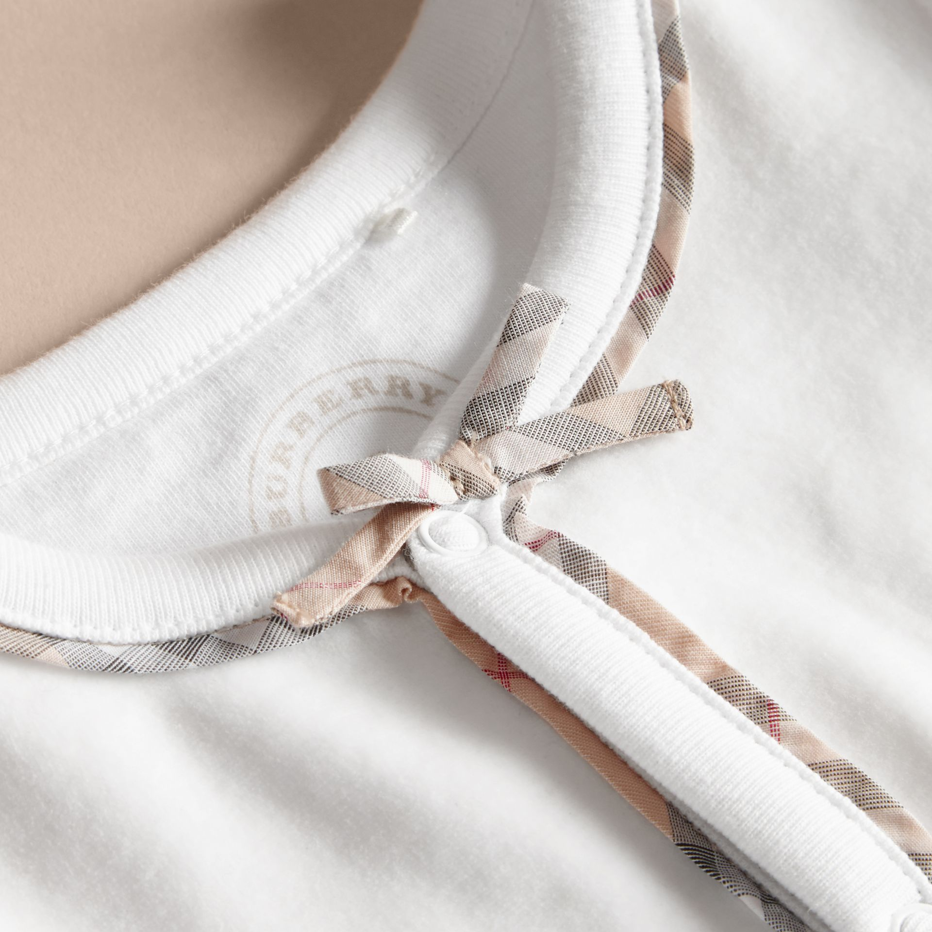 Cotton Check Detail All-in-one in White | Burberry Australia - gallery image 2