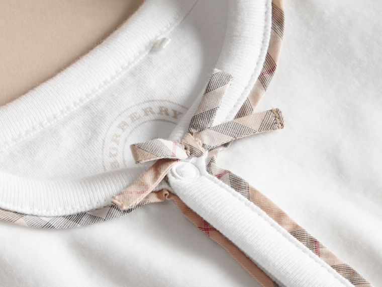 Cotton Check Detail All-in-one in White | Burberry Australia - cell image 1