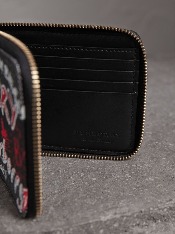 Doodle Print Coated Check Canvas Ziparound Wallet in Black - Men | Burberry - cell image 3