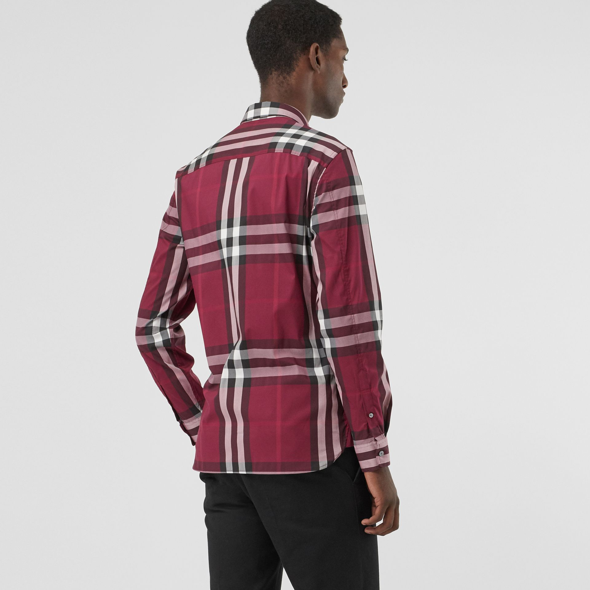 Check Stretch Cotton Shirt in Plum - Men | Burberry Canada - gallery image 2