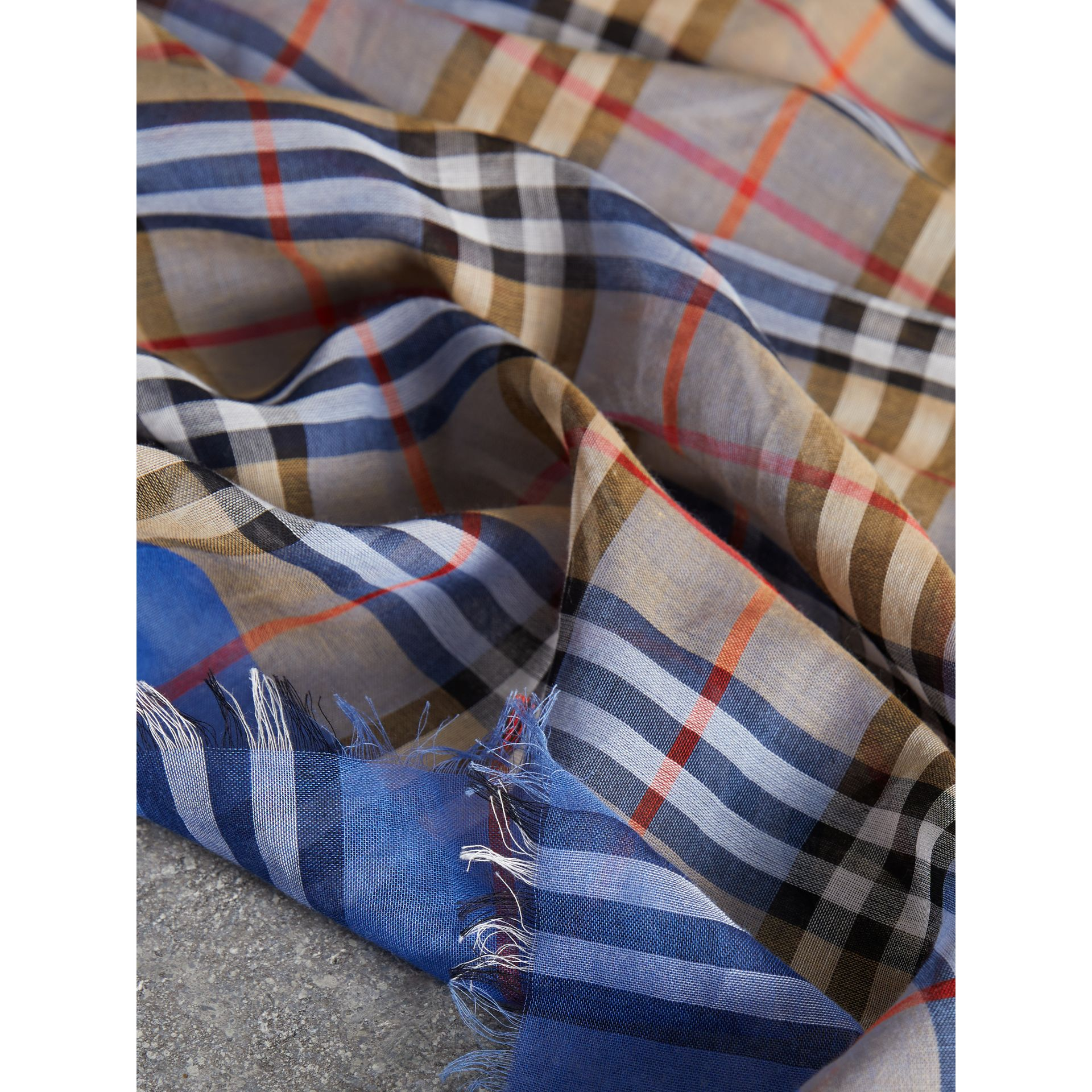 Two-tone Vintage Check Cotton Square Scarf in Azure Blue | Burberry - gallery image 1