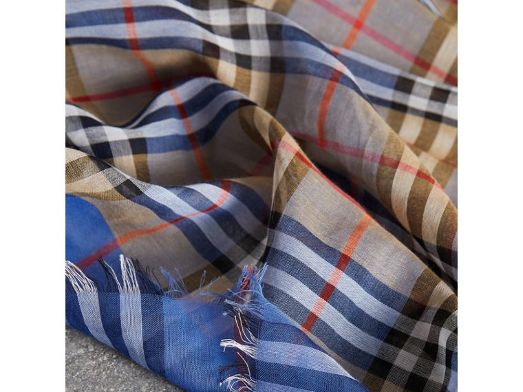 Two-tone Vintage Check Cotton Square Scarf in Azure Blue | Burberry - cell image 1