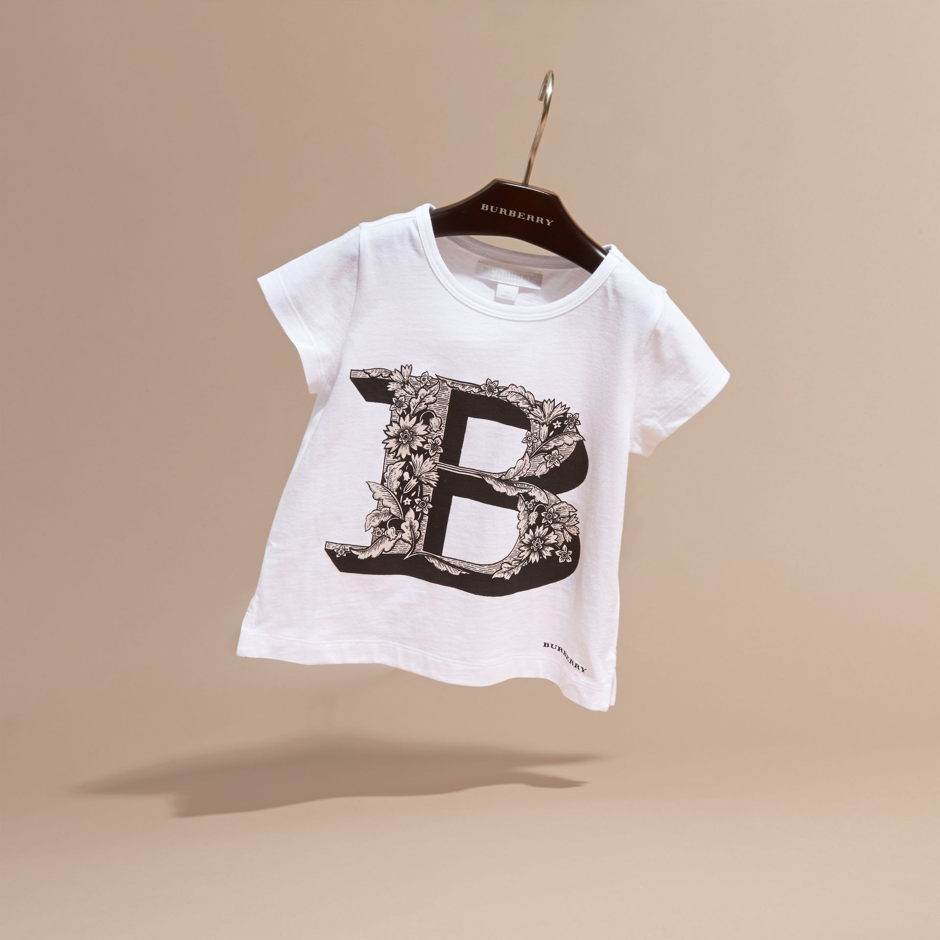 Pale ash rose Decorative Letter Motif Cotton T-Shirt - gallery image 3