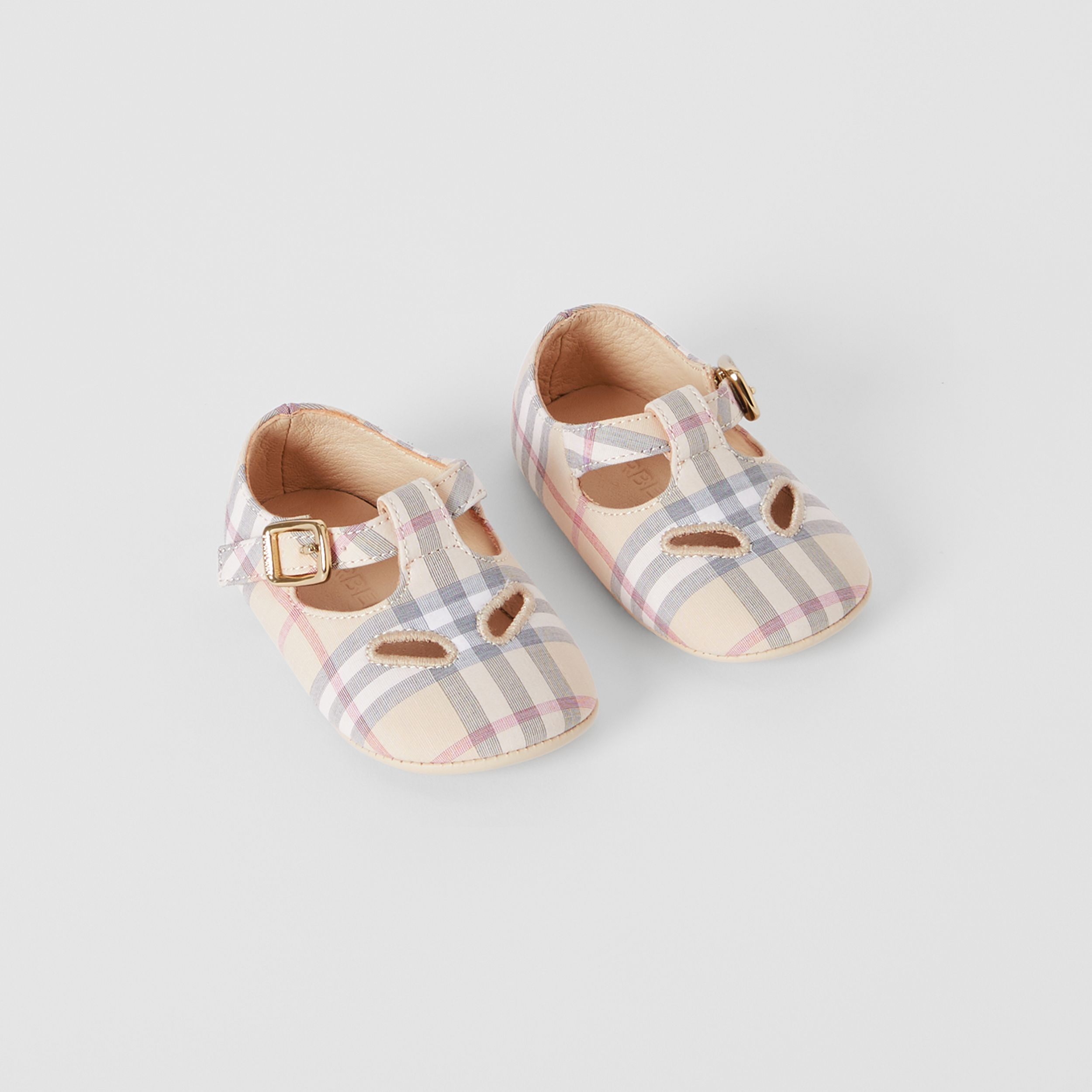 Check Cotton and Leather T-bar Shoes in Pale Stone - Children | Burberry - 1