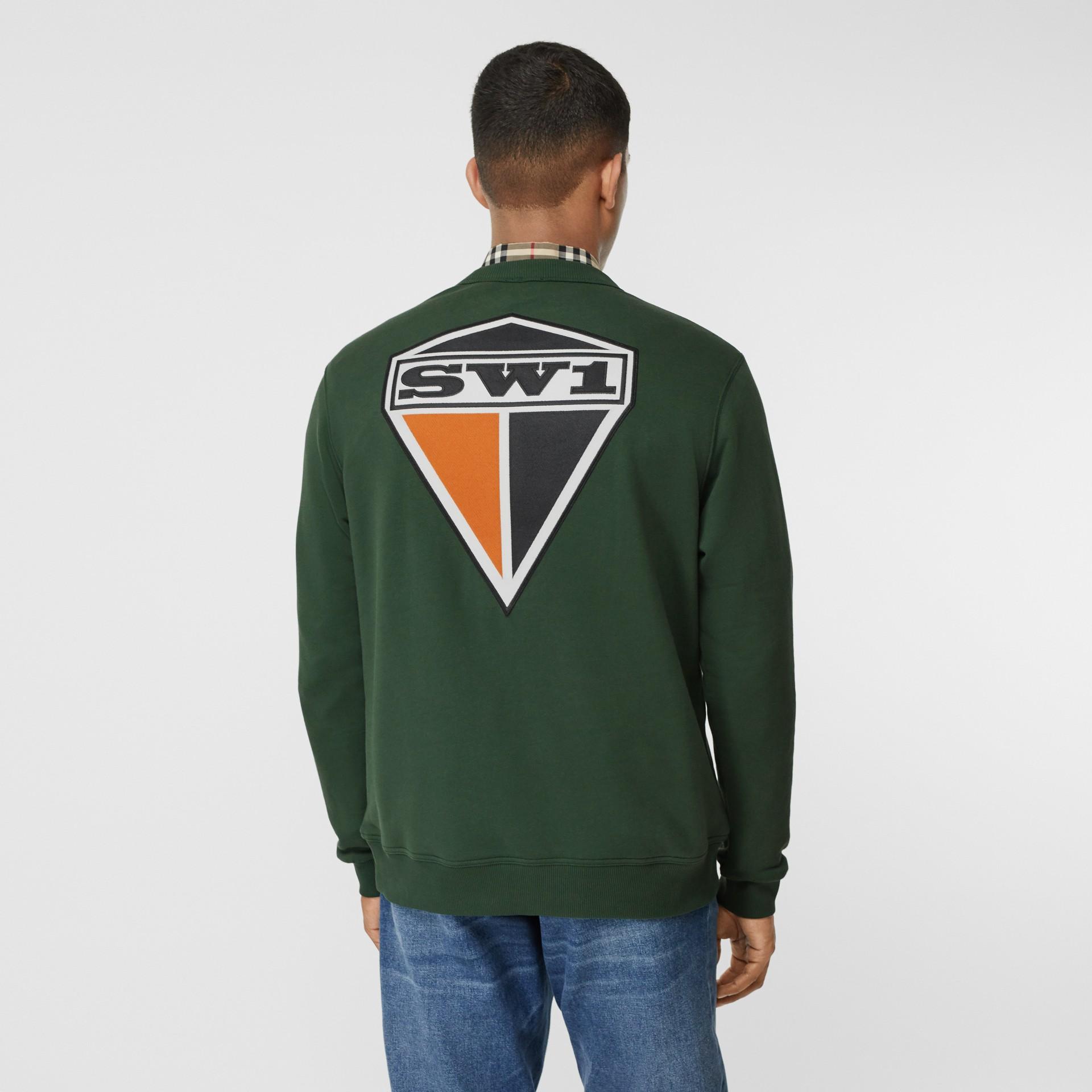 Logo Graphic Cotton Sweatshirt in Dark Pine Green - Men | Burberry - gallery image 2