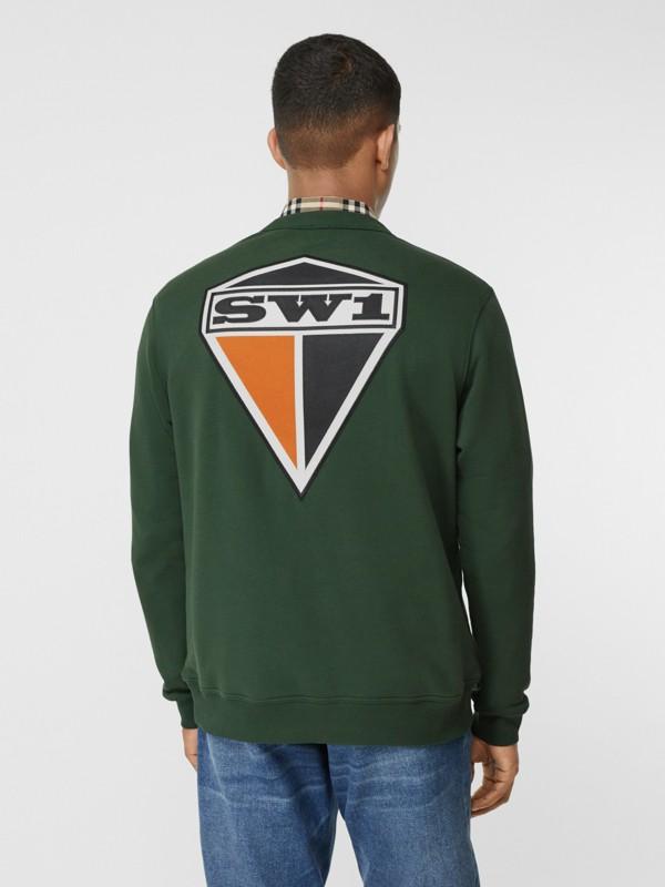 Logo Graphic Cotton Sweatshirt in Dark Pine Green - Men | Burberry - cell image 2