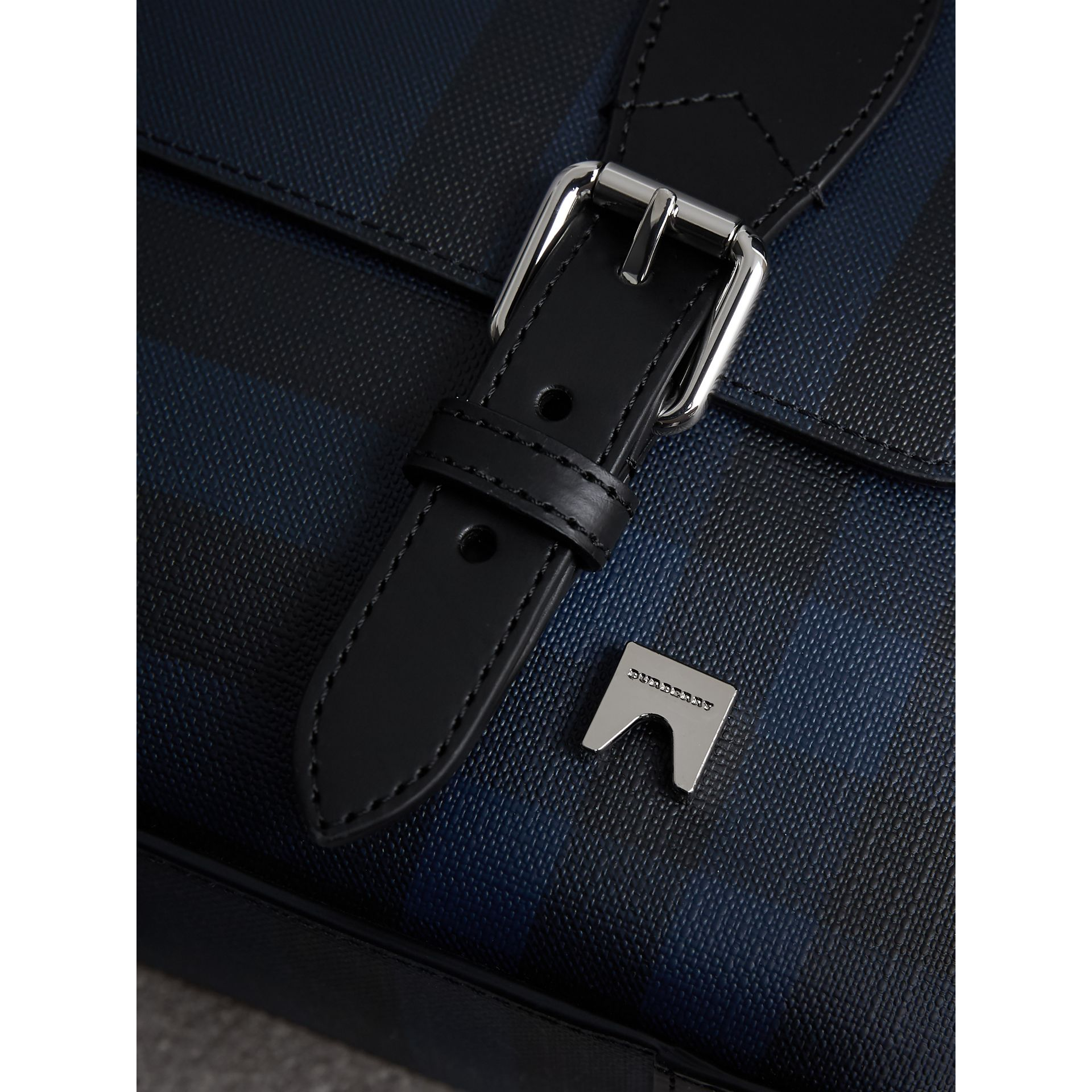 Medium Leather Trim London Check Messenger Bag in Navy/black - Men | Burberry Singapore - gallery image 1