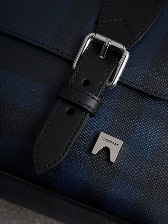 Medium Leather Trim London Check Messenger Bag in Navy/black - Men | Burberry - cell image 1