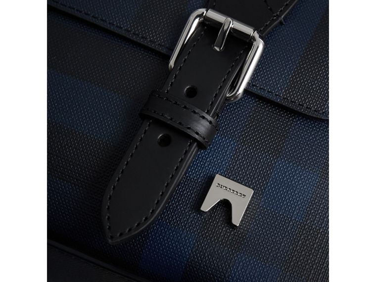 Medium Leather Trim London Check Messenger Bag in Navy/black - Men | Burberry United Kingdom - cell image 1
