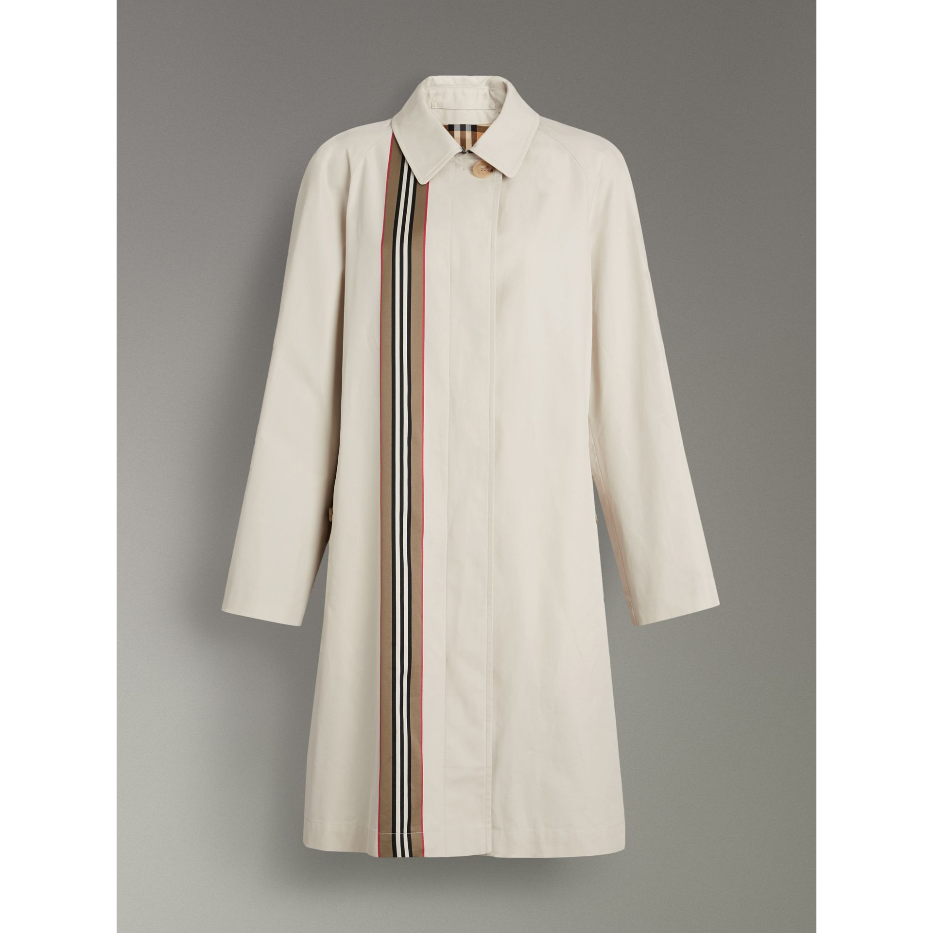 Heritage Stripe Cotton Gabardine Car Coat in Stone - Women | Burberry - gallery image 3