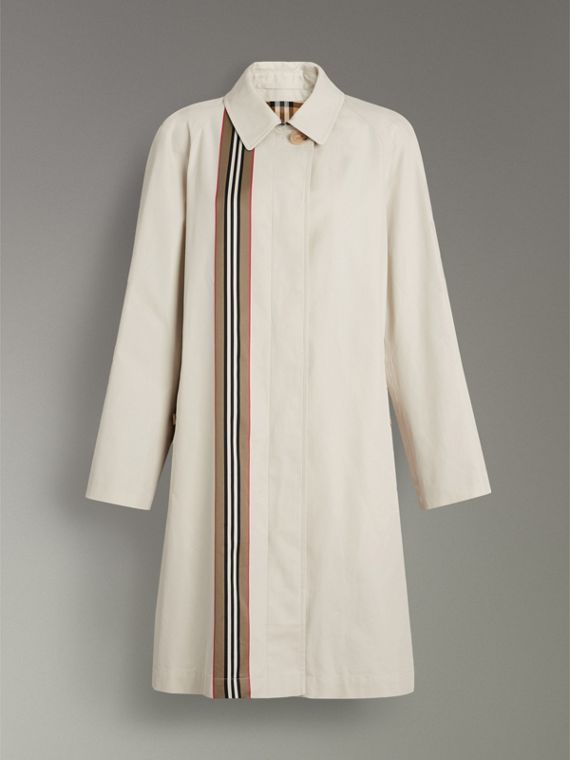 Heritage Stripe Cotton Gabardine Car Coat in Stone - Women | Burberry - cell image 3