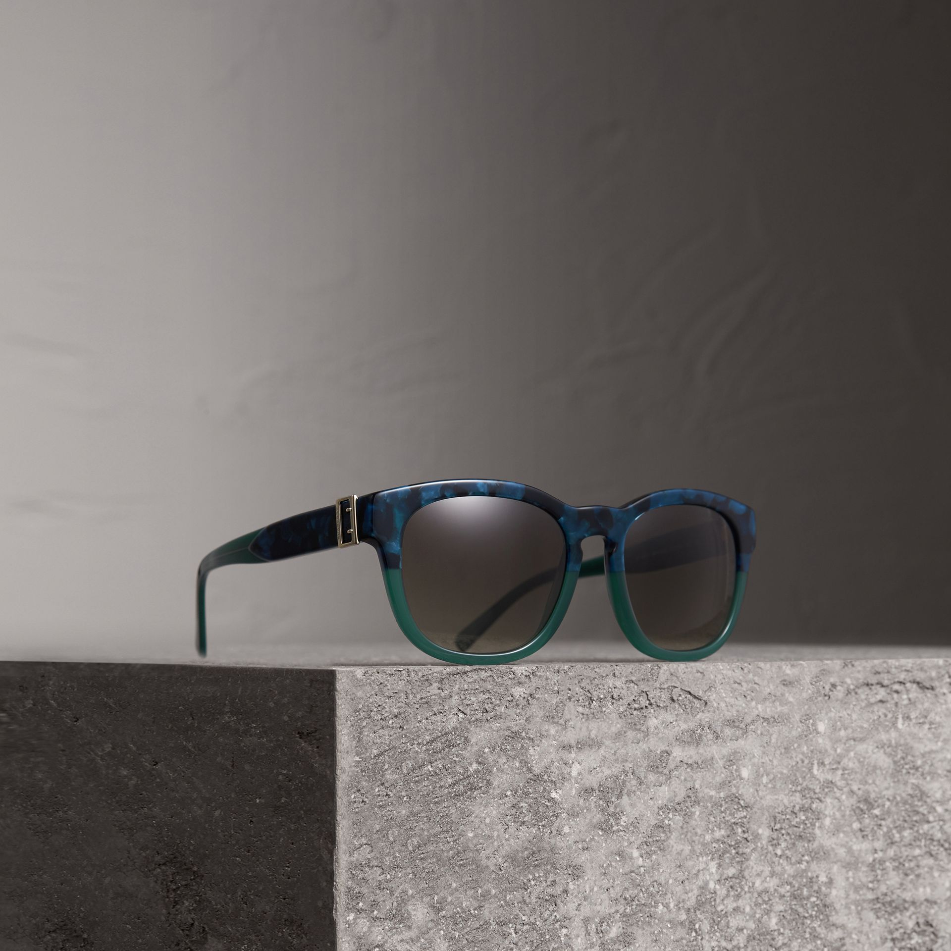 Buckle Detail Square Frame Sunglasses in Blue - Women | Burberry United Kingdom - gallery image 0