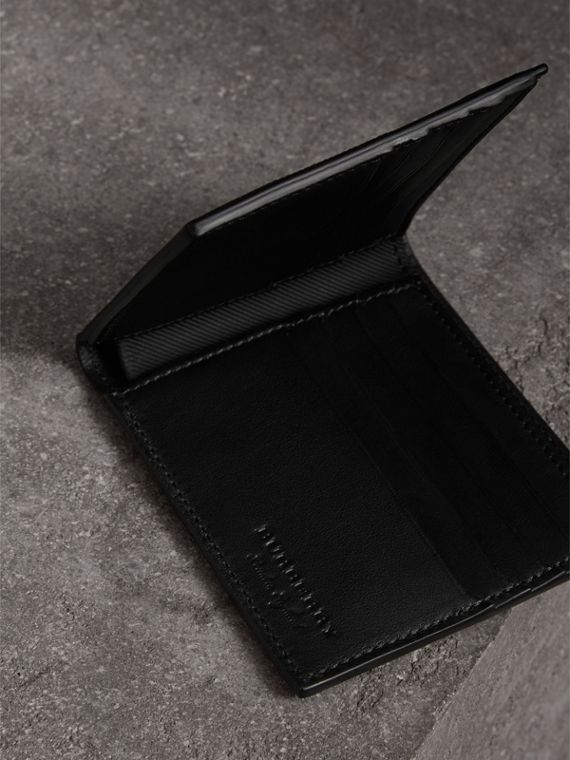 Trench Leather International Bifold Wallet in Black - Men | Burberry - cell image 3