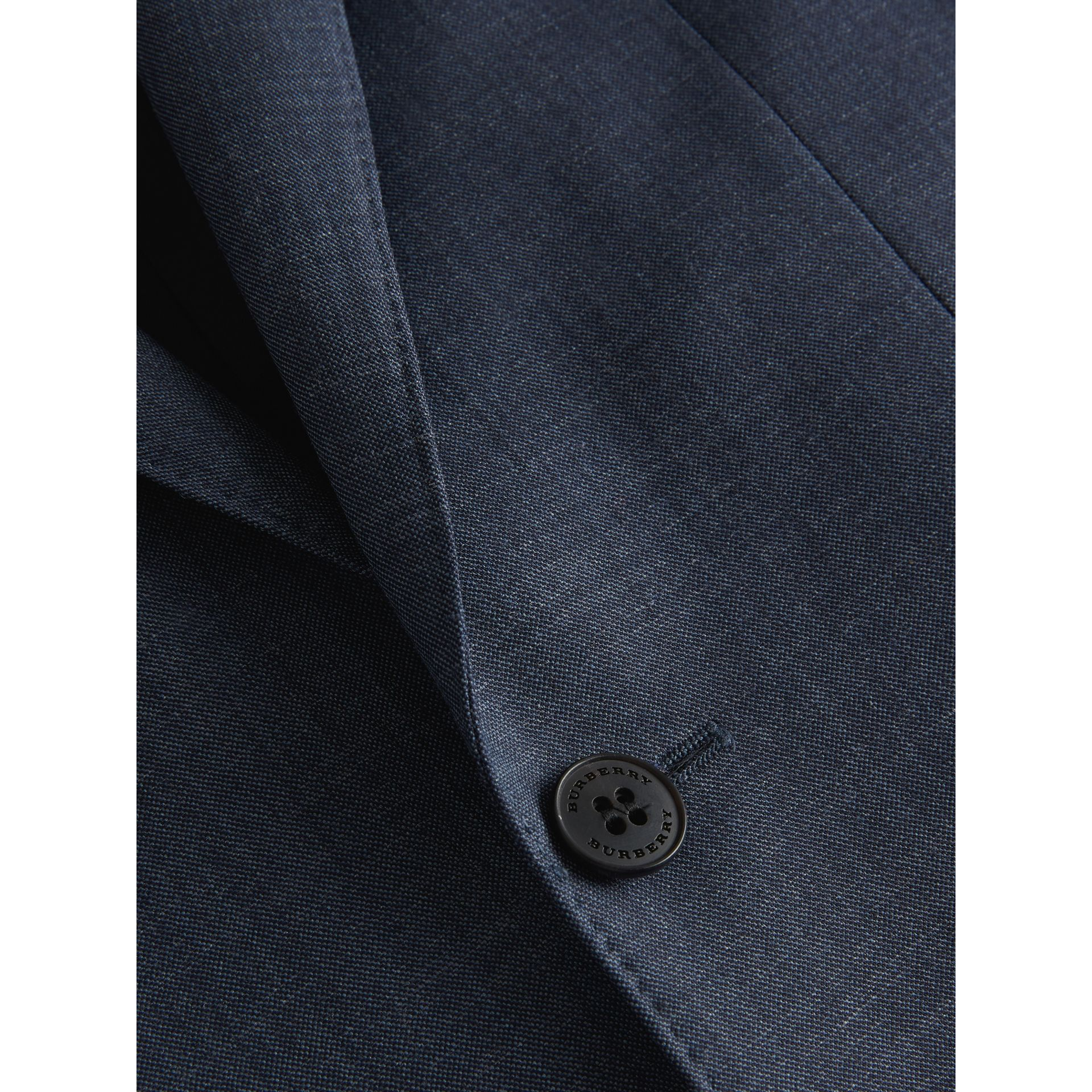 Slim Fit Wool Silk Linen Suit in Bright Navy - Men | Burberry Canada - gallery image 1