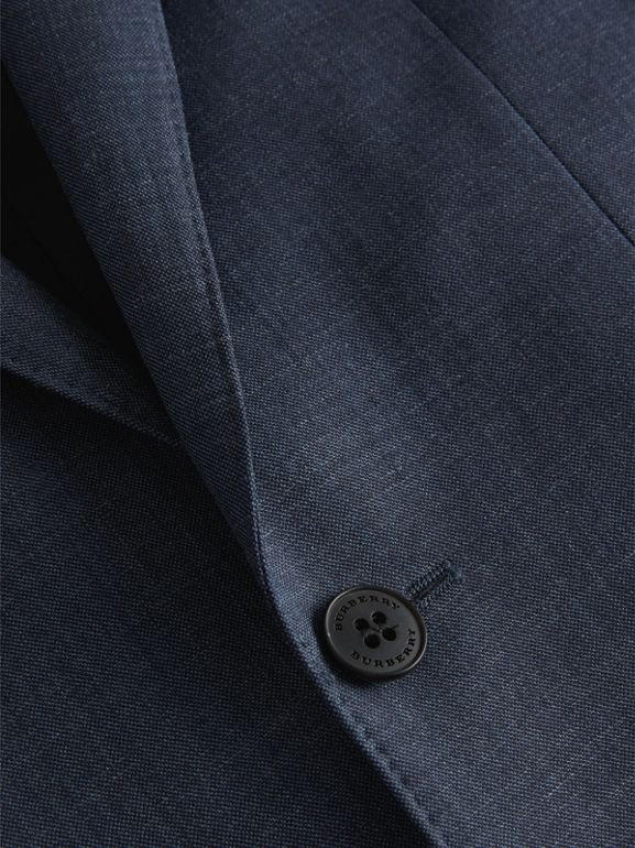 Slim Fit Wool Silk Linen Suit in Bright Navy - Men | Burberry United Kingdom - cell image 1