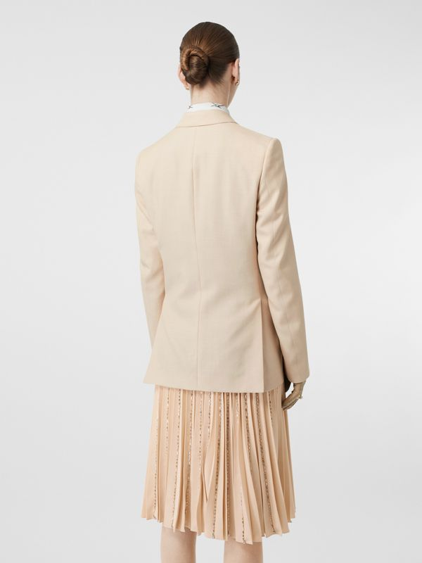 Waistcoat Detail Mohair Silk Blend Blazer in Sesame - Women | Burberry Australia - cell image 2