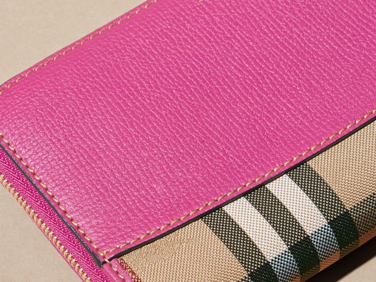 Brilliant fuchsia Horseferry Check and Leather Ziparound Wallet Brilliant Fuchsia - cell image 1